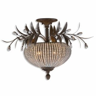 Cristal De Lisbon 3-light Golden Bronze Semi-flush Mount