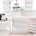My Baby Sam Pink Chevron Baby 3-piece Crib Bedding Set