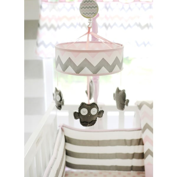 My Baby Sam Pink Chevron Baby Mobile