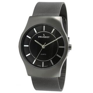 Peugeot Men's Gun Metal Mesh Bracelet Watch