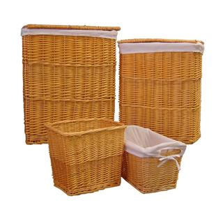 Organize It All 4-piece Honey Willow Hamper and Basket Set