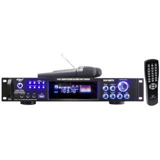 PylePro PWMA1003T 1000 Watts Hybrid Pre-Amplifier W/AM-FM Tuner/USB/Dual Wireless Mic (Refurbished)