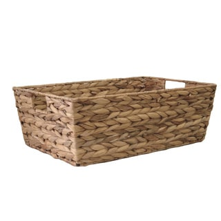 Organize It All Water Hyacinth Tapered Basket with Cut-out Handles