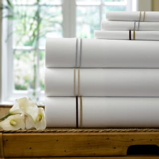 Egyptian Cotton Collection Double Line Embroidered Duvet Cover Set with Shams Sold Separately