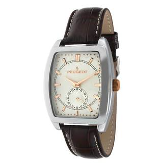 Peugeot Men's Silver-Tone Brown Leather Strap Watch
