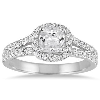14k White Gold 1 1/2ct TDW Cushion-cut Diamond Engagement Ring (I-J, I1-I2)