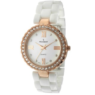 Peugeot Women's White Ceramic Crystal Rosegold-Tone Bezel Watch