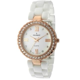 Peugeot Women's White Ceramic Crystal Rosegold-Tone Bezel Watch
