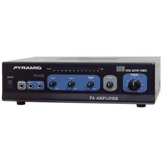 Pyramid PA105 80 Watt Microphone AC & DC 12 Volt PA Amplifier w/70V Output & Mic Talkover (Refurbished)