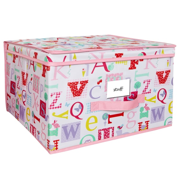 Collapsible Design Lid Pink, White Fun Kids Owlphabet Pattern Jumbo Storage Box