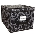 Collapsible Design Lid Elegant Marchmont Pattern Black Large Storage Box