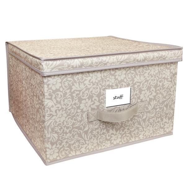 Elegant Collapsible Design Lid Fern Pattern Jumbo Storage Box