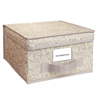 Elegant Collapsible Design Lid Fern Pattern Medium Storage Box