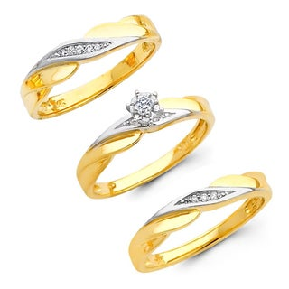 14k Yellow Gold 1/10ct TDW His and Hers Matching Diamond Ring Set (H-I, I1)