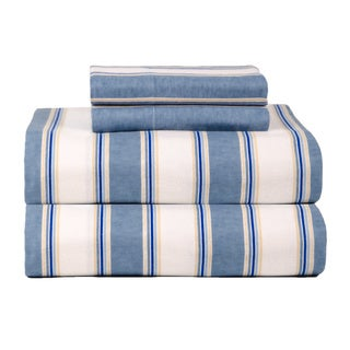 Celeste Home Ultra Soft Blue Stripe Flannel Sheet Set
