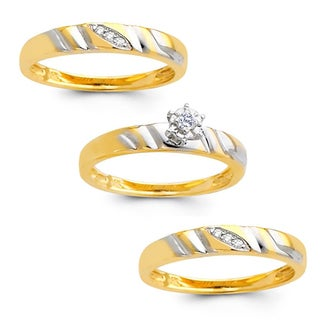 14k Yellow Gold 1/8ct TDW His and Hers Diamond Wedding Ring Set (H-I, I1)