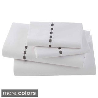 Ombre Box Embroidered Egyptian Cotton Collection 300 Thread Count Sheet Sets or Pillowcases Separates