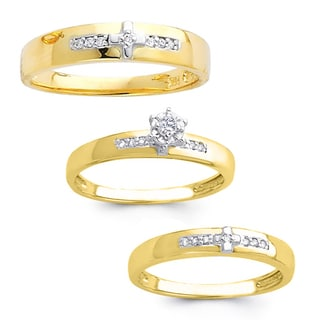 14k Yellow Gold 1/5ct TDW His and Hers Round-cut Diamond Wedding Ring Set (H-I, I1)