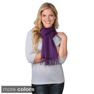 Portolano Women's Solid Color Fringed Cashmere Scarf
