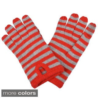 Portolano Women's Striped Cashmere Blend Texting Gloves