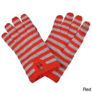 Portolano Women's Striped Cashmere Blend Texting Gloves