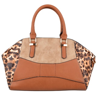 Journee Collection Womens Leopard Print Double Handle Satchel
