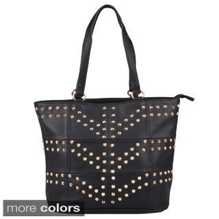 Journee Collection Women's Studded Double Handle Tote Bag