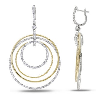 Miadora 14k Gold 2 1/3ct TDW Open Circles Diamond Earrings (G-H, SI1-SI2)