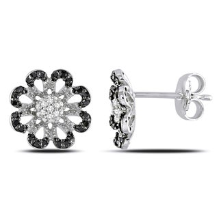 Miadora Sterling Silver 1/4ct TDW Black and White Diamond Flower Earrings
