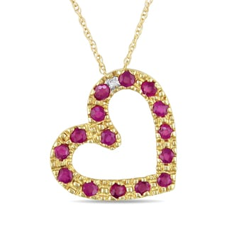 Miadora 10k Yelllow Gold Ruby and Diamond Heart Necklace