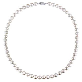 Miadora Sterling Silver Pearl Necklace (7-7.5 mm)
