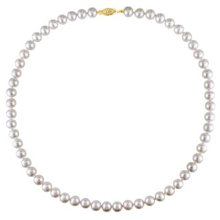 Miadora 14k Yellow Gold Cultured Freshwater Pearl Necklace (7-7.5 mm)