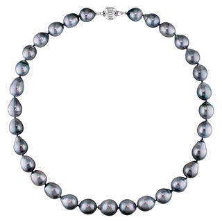 Miadora 14k White Gold Tahitian Pearl Necklace (10-12 mm)