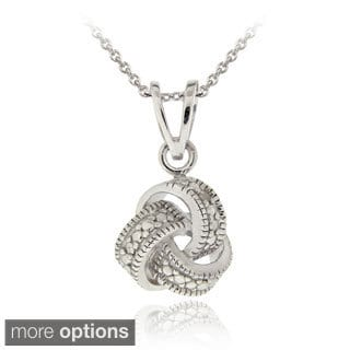 DB Designs Sterling Silver Diamond Accent Love Knot Necklace