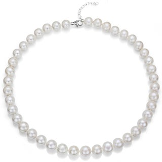 Sterling Silver White Round Cultured Freshwater Pearl Necklace with Bonus Earrings (8-9 mm)