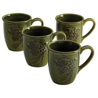 Paula Deen Signature Dinnerware Southern Pine 4-piece Green Mug Set