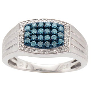 Sterling Silver Men's 1/2ct TDW Blue and White Diamond Ring (H-I, I2)