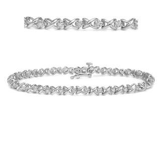 Auriya 14k White Gold 1/3ct TDW X Design Diamond Link Bracelet (H-I, I2-I3)