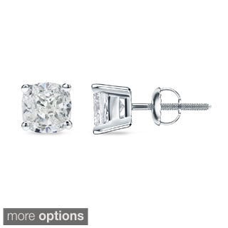 Auriya 14k/18k Gold or Platinum 1/2ct TDW Certified Cushion Cut Diamond Earrings (H-I, SI1-SI2)
