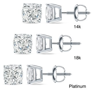 Auriya 18k/14k Gold or Platinum 1ct TDW Certified Cushion Cut Diamond Earrings (H-I, SI1-SI2)
