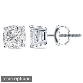 Auriya 1 1/2ct TDW Certified Cushion Cut Diamond Stud Earrings (H-I, SI1-SI2)