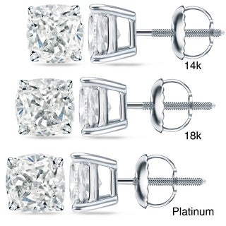 Auriya 14k/18k Gold or Platinum 2 ct TDW Certified Cushion Cut Diamond Earrings (H-I, SI1-SI2)