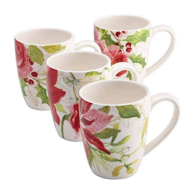 Paula Deen Signature Dinnerware Holiday Floral 4-piece Mug Set 12062886