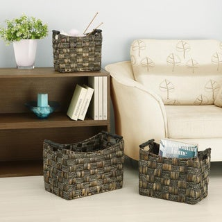 Organize It All Water Hyacinth/ Maize Braid Basket (Set of 3)