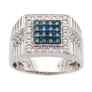Sterling Silver Men's 3/4ct TDW Blue and White Diamond Ring (H-I, I2)