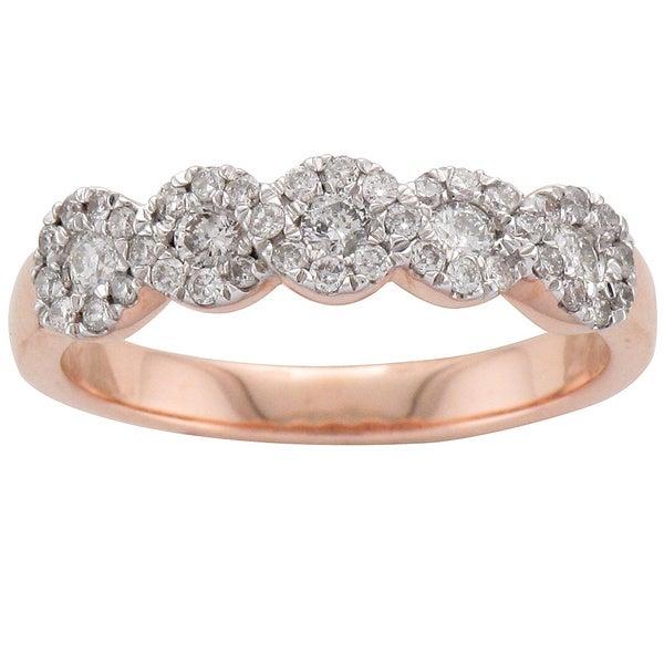 Unending Love 10k Rose Gold 1/2ct TDW Five Stone Diamond Anniversary Ring (H-I, I1-I2)
