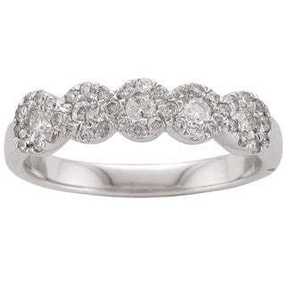 10k White Gold 1/2ct TDW Five Stone Diamond Anniversary Ring (H-I, I1-I2)