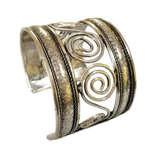 Handmade Brass and Silver Swirl Cuff Bracelet (India)