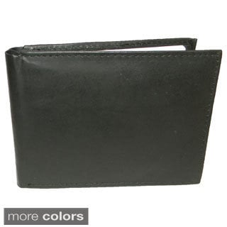 Hollywood Tag Cowhide Leather Thin Bi-fold Wallet