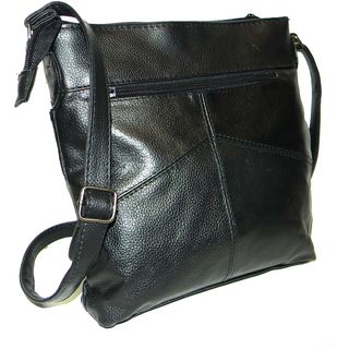 Black Leather Mini iPad Messenger Bag